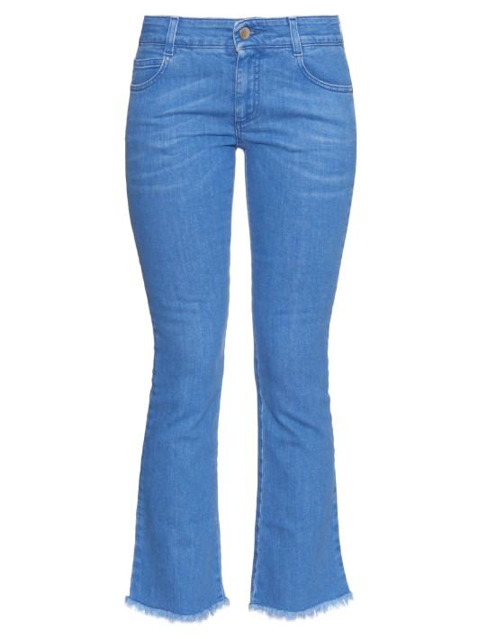 STELLA MCCARTNEY Frayed-hem mid-rise flared cropped jeans